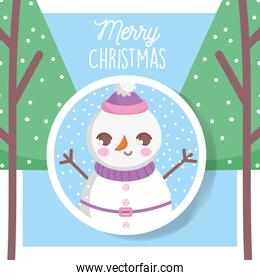 snowman with hat trees snow merry christmas tag
