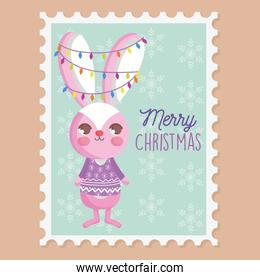 rabbit with lights tangled in the ears merry christmas stamp