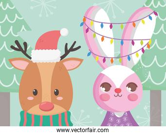reindeer with hat and rabbit lights tree merry christmas card