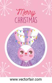 rabbit with lights in ears snowflakes merry christmas tag