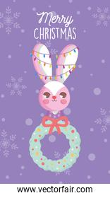 rabbit with lights and garland snow merry christmas card