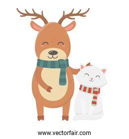 reindeer and cat with scarf celebration merry christmas