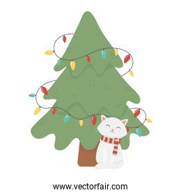 white cat and tree lights celebration merry christmas