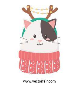 cute cat with horns sweater celebration happy christmas