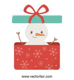 snowman on gift box surprise celebration merry christmas