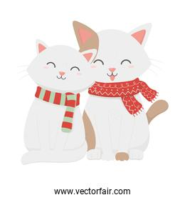 adorable cats with scarf celebration merry christmas