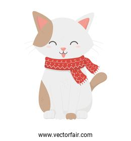 cute white cat with scarf tongue out celebration merry christmas