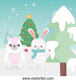 cute bunny and rabbit tree snow landscape merry christmas