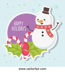 cute snowman with scarf and candy canes merry christmas