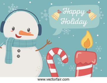 snowman candy cane candle happy holiday card