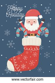 santa in sock with candy canes happy holiday card
