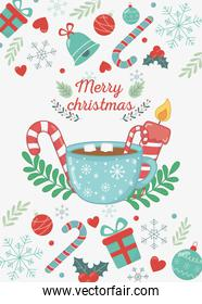 chocolate cup marshmallow candle candy cane merry christmas card