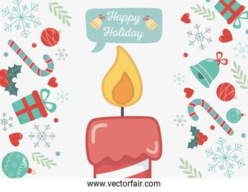 burning candle gifts bells and candy canes happy holiday card