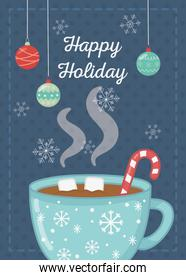 chocolate cup with marshmallow candy cane happy holiday card