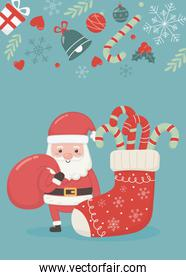 santa with bag and sock candy canes merry christmas card