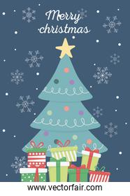 decorated tree and gift boxes merry christmas card