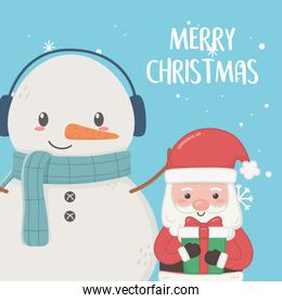 santa claus and snowman with scarf merry christmas card