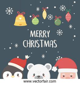 santa penguin and polar bear merry christmas card