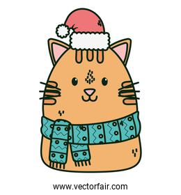 cute cat with scarf hat celebration merry christmas