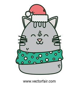 cute cat with hat and scarf celebration happy christmas