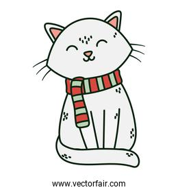 cute white cat with scarf celebration merry christmas