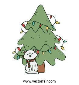 smiling cat and tree lights celebration merry christmas