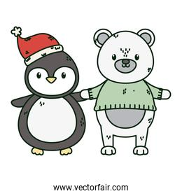 polar bear with sweater and penguin with hat celebration merry christmas