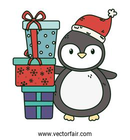 cute penguin with pile gifts celebration merry christmas