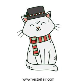 white cat with hat and scarf celebration merry christmas