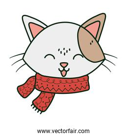 cute cat face with scarf tongue out celebration merry christmas