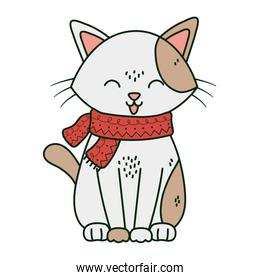 pretty white cat with scarf tongue out celebration merry christmas