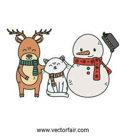 snowman cat and reindeer celebration merry christmas
