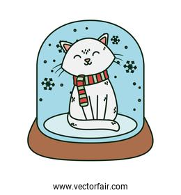 white cat in crystal ball snow celebration merry christmas