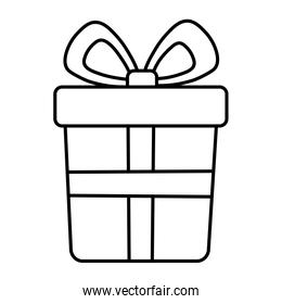 wrapped gift box bow decoration merry christmas thick line