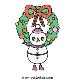 snowman with wreath ribbon merry christmas