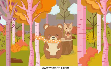 cute bear and squirrel animal forest hello autumn