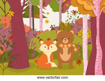 cute bear and fox in the forest hello autumn