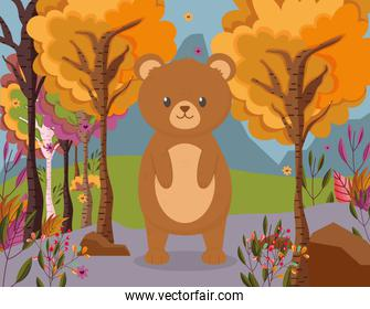 cute bear standing in the forest hello autumn