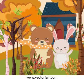 cute bear and rabbit cottage forest hello autumn