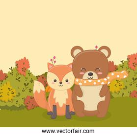 cute bear and fox sitting in the forest hello autumn