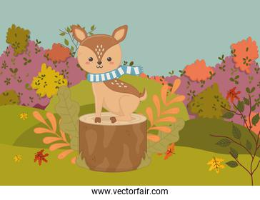 cute deer with scarf sitting on trunk hello autumn landscape