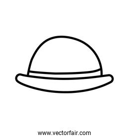bowler hat with red ribbon icon thick line