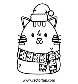 cute cat with scarf hat celebration merry christmas thick line