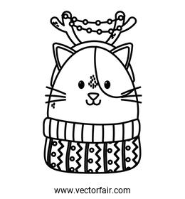 cute cat with horns sweater celebration happy christmas thick line