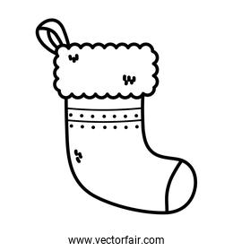 sock decoration merry christmas thick line