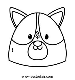 cute dog head on white background thick line