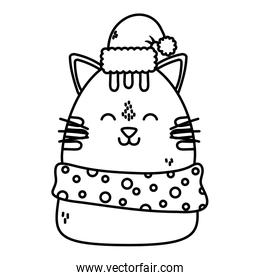 cute cat with hat and scarf celebration happy christmas thick line