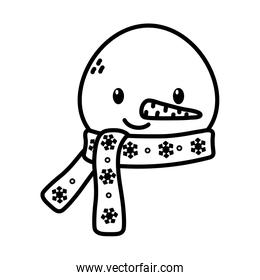 snowman face with scarf celebration merry christmas thick line