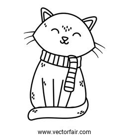 cute cat with scarf celebration merry christmas thick line