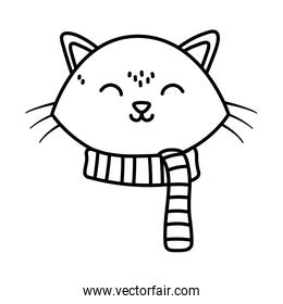 cute cat face with scarf celebration merry christmas thick line